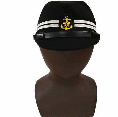 WWII WW2 JAPANESE OFFICER NAVY HAT MILITARY FIELD CAP BLACK COLOR SIZE 58~59 cm
