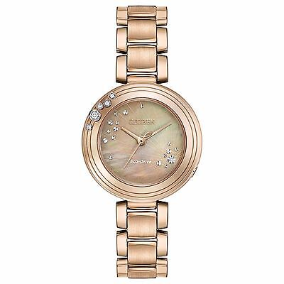 Citizen Eco-Drive Women's EM0463-51Y Dress Carina Rose Gold MOP Diamond Watch