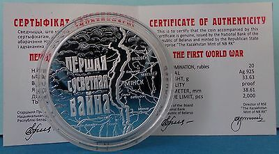 Belarus 20 Rubles 2014 The First World War Proof PP Silver Silber