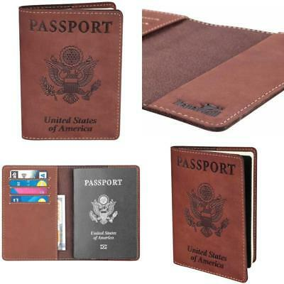 Genuine Leather Passport Cover Holder RFID Blocking Men Women Modern Travel NEW