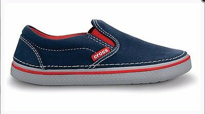 low priced c1d8b 886ad CROCS J4 HOVER Sneak Slip on Shoes Sneakers Navy/Gray/Red size 4 kids