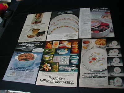 vintage lot of 6 corning ware magazine ads 1970-1986 cornelle pyrex ad