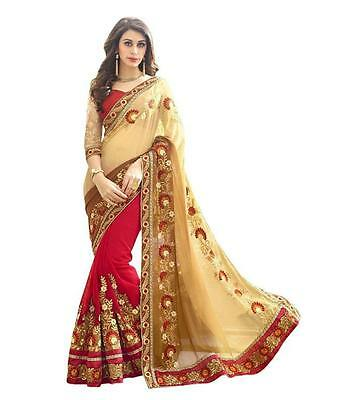 Indian Ethnic Designer Red Brown Georgette Embroidered Saree Sari with Blouse