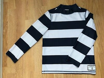 JANIE AND JACK Boys Rashguard Swim Shirt Blue White Stripe Long Sleeve Sz 6 GUC