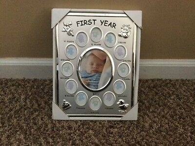 Baby First Year Silverplate Picture Frame  w/ 12 Month by Month Photo Hallmark