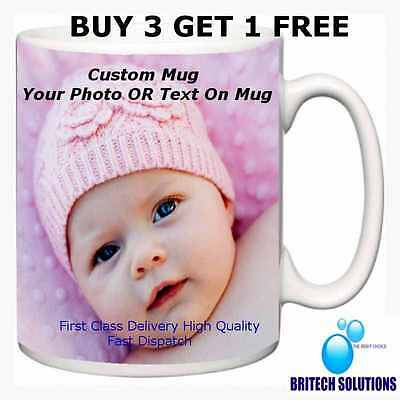 Personalised mug cup customised gift with own photo or text Birthday Buy 3 Get 4