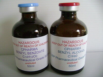 BENZYL ALCOHOL & BENZYL BENZOATE USP PHARMACEUTICAL GRADE 99.9% (UNDILUTED) 50ml