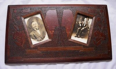 Antique Folk Art Patriotic Picture Frame with Flags