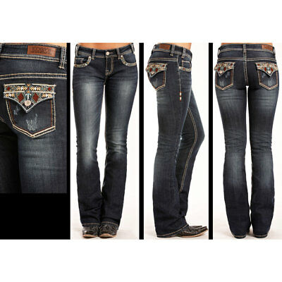 W6-3415 Rock & Roll Cowgirl Juniors Jeans Aztec Triangle Pocket Design NEW