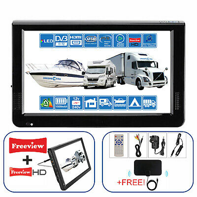 "MOTORHOME CARAVAN BOAT TRUCK 12"" Inch Portable TV Freeview HD 240V 12V Battery"