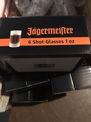 Set of 6 NEW in Box JAGERMEISTER Frosted 1 oz SHOT Glasses