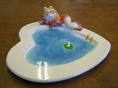 Vintage Miss Piggy Kermit Muppets Swimming Pool Sigma Ceramic Dish Plate