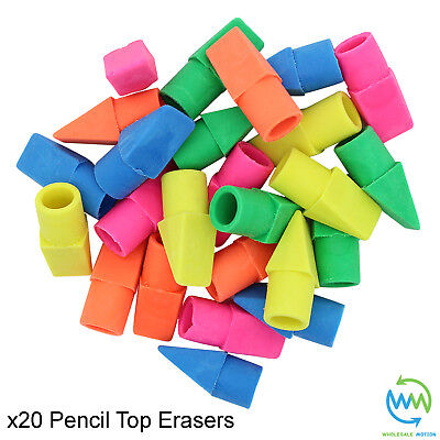 20 x PENCIL TOP Erasers RUBBERS Coloured School STATIONERY Eraser Rubber NEW