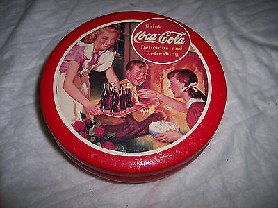 "RED ROUND ""Coca- Cola "" TIN With Picture of Mom Serving Coke to Kids"