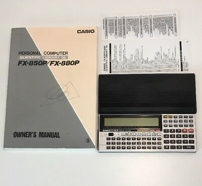 Vintage Casio FX-880P Scientific Library 116 Personal Computer With Manual