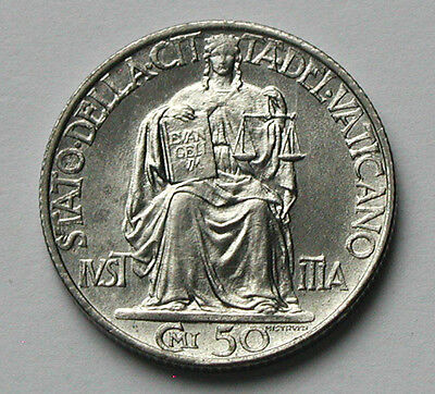 1942 VATICAN Pope Pius XII Coin - 50 Centesimi - Justice w/ Law Tablets & Scales