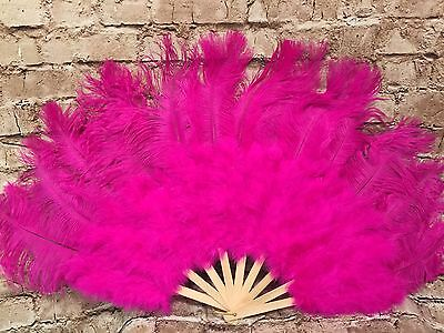 Ostrich Feather Fan 21 x 38 Fucshia Pink Drag Burlesque Show Girl Bamboo Staves
