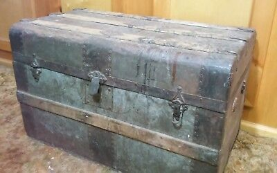 Vintage Antique Trunk - 1800's-1920? - Coffee Table Trunk, Metal over Wood