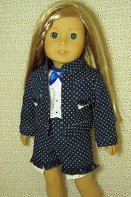 Doll Clothes 4PC Blue Denim Jacket + Shorts + Top fits American Girl 18 *y