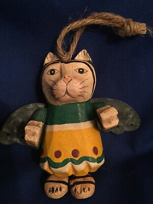 Wooden Cat Angel Ornament