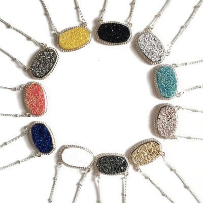 Hot Delicate Glitter Druzy Oval Pendant Necklace Chic Handmade Statement Choker