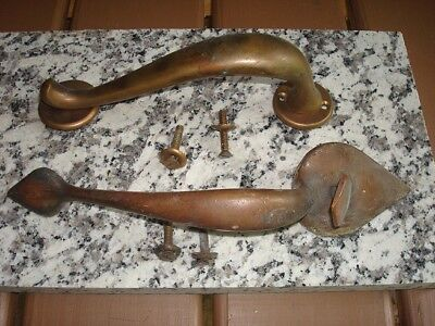 Vintage Solid Brass Thumb Latch Door Pull Handles Large Lot of Two