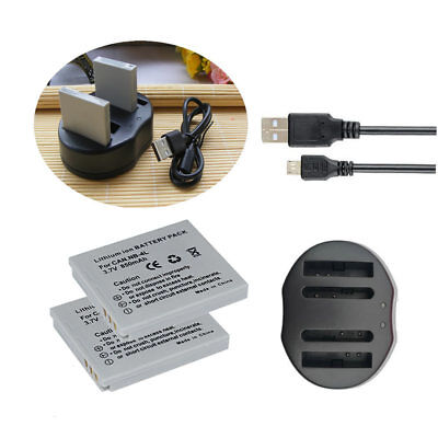 2 * Battery+Charger For Canon NB-4L IXUS 80/110/120/130 IS /117/220/230 HS