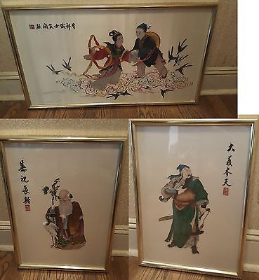 Chinese Silk Embroidery Set Of 3