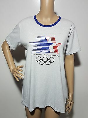 Heritage Mens T-Shirt Size S Blue White Short Sleeve Vintage Olympics 1984