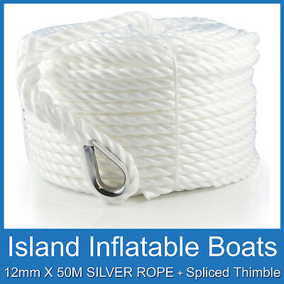 SILVER ANCHOR ROPE ✱ 12mm X 50M ✱ 1250KG Break UV RESISTNT BOAT MARINE FREE POST