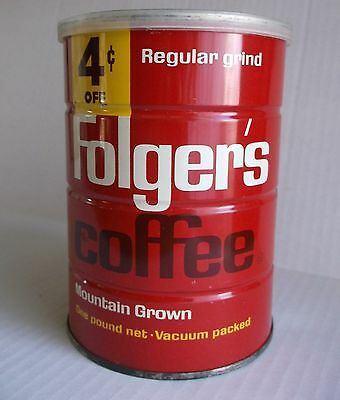 vtg 1960s Special dated 1963 Folgers Coffee 4 cents off CANCO can tin 1 lb KC SF