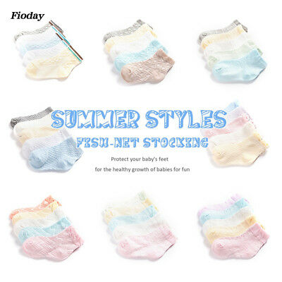Kawaii Color Cotton Short Socks Boys Breathable Mesh Socks Baby Girls Children