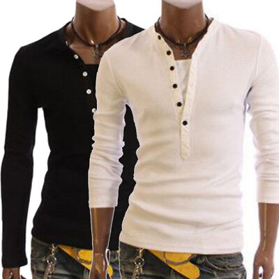Fashion Men's Slim Fit Long Sleeve Slim T-shirts Casual Tee Shirt Tops Pullover