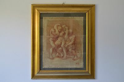 Antico disegno a matita sanguigna quadro primi del 900 Antique pencil drawing