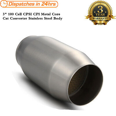 "3"" Inch 100 Cell CPSI CPI Metal Core Cat Converter Stainless Steel Body"