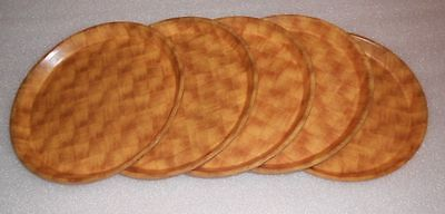 """Qty 5 Cambro Camtray 13"""" Round NSF Serving Trays Fiberglass Basketweave 1300302"""