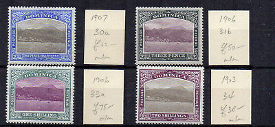 Dominica 1903-07 values to 2s MH