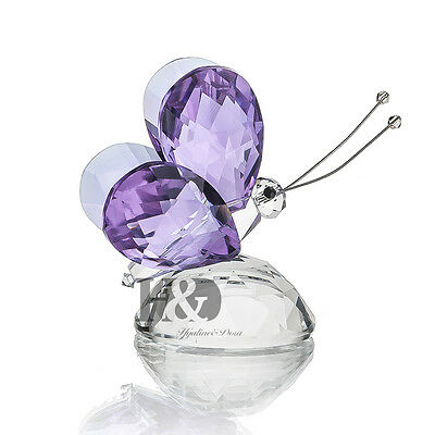 H&D Purple Crystal Flying Butterfly Paperweight Animals Decorative Collectibles