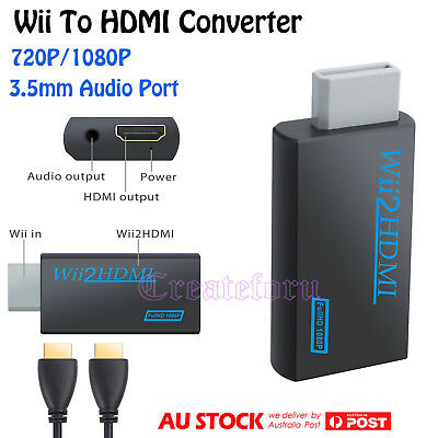 Wii To HDMI Converter Adapter 720P/1080P with 3.5mm Audio Output & HDMI Cable