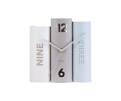Karlsson Table Book Clock in Grey and Beige