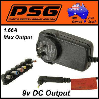 Ac/Dc Adaptor plug pack Regulated output 9vdc@1.66Amps Switchmode power supply