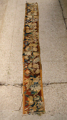 A Very Long Wool & Silk Tapestry Border With Fruits & Flowers