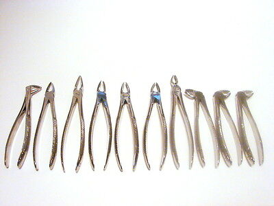 10 Forceps d'extraction INSTRUMENT DENTAIRE Set marquage CE CHIRURGIE DENTISTE