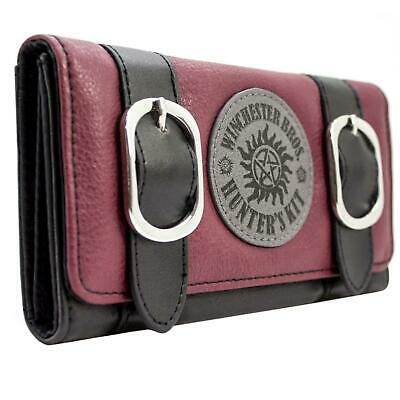 New Official Supernatural Winchester Hunters Kit Red Coin & Card Tri-Fold Purse