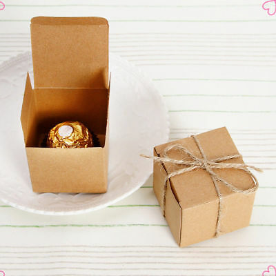 3/10/30/50 Kraft Paper Candy Cake Sweet Boxes Favor Wedding Party Gift With Rope