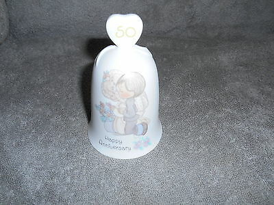 """Precious Moments Porcelain 50th Anniversary Bell """"Happy Anniversary""""  1989"""