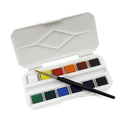 Mini Pocket Watercolour Paint Half Pan Box Set with Travel Brush