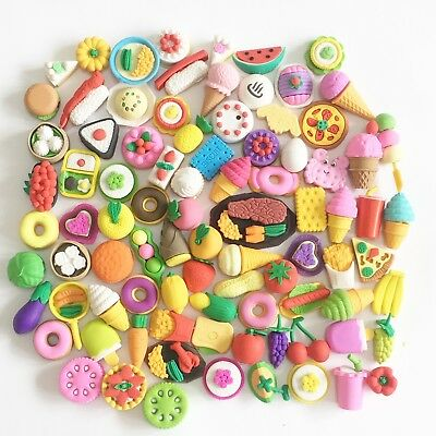 Cute Fruits Vegetables Cakes Biscuits Japanese Food Shape Puzzle Rubber Erasers
