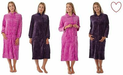 Ladies Womens Dressing Gown Zip Up Button Bath Soft Warm Robe House