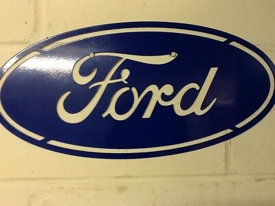 Ford Sign , Oval, Cosworth , Escort Turbo, powder coated blue